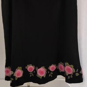 Karen Kane Black A-Line skirt rose 3-D floral